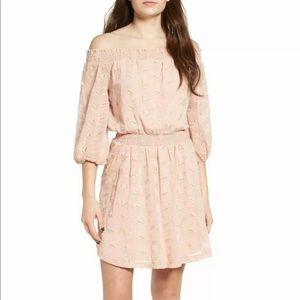 ASTR The Label Off the Shoulder Eyelet Pink Dress